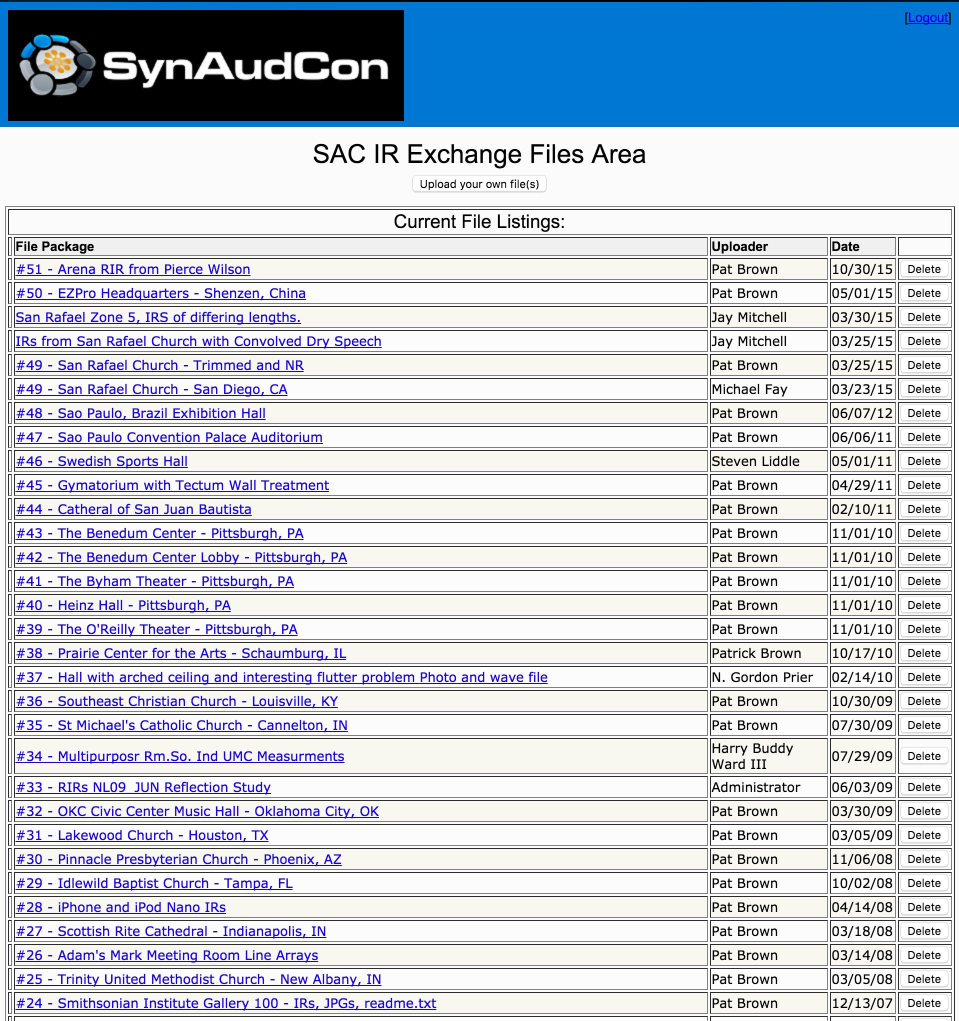 SynAudCon RIR Exchange List
