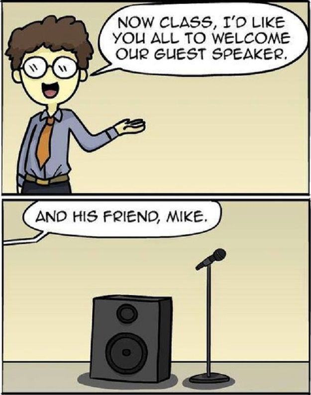 Guest Speaker and Friend Cartoon