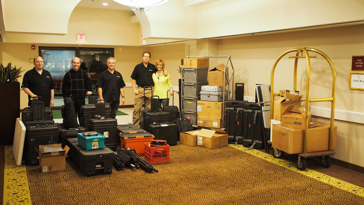 Picture showing amount of equipment needed for the SynAudCon Digital seminar
