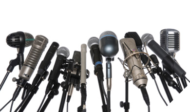 photo showing a variety of microphones. ( microphone feedback )