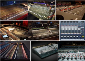 Photo showing Several Mixing Consoles