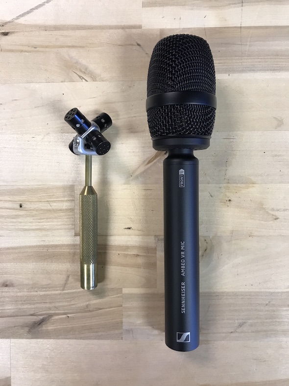 Two examples of B-Format Mics - Tectra Mic and Sennheiser Ambeo