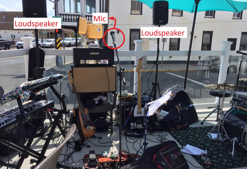However, there are many cases where the loudspeakers are placed at the back of the performers due to the limited stage area. Figure 2 is a good example of this.