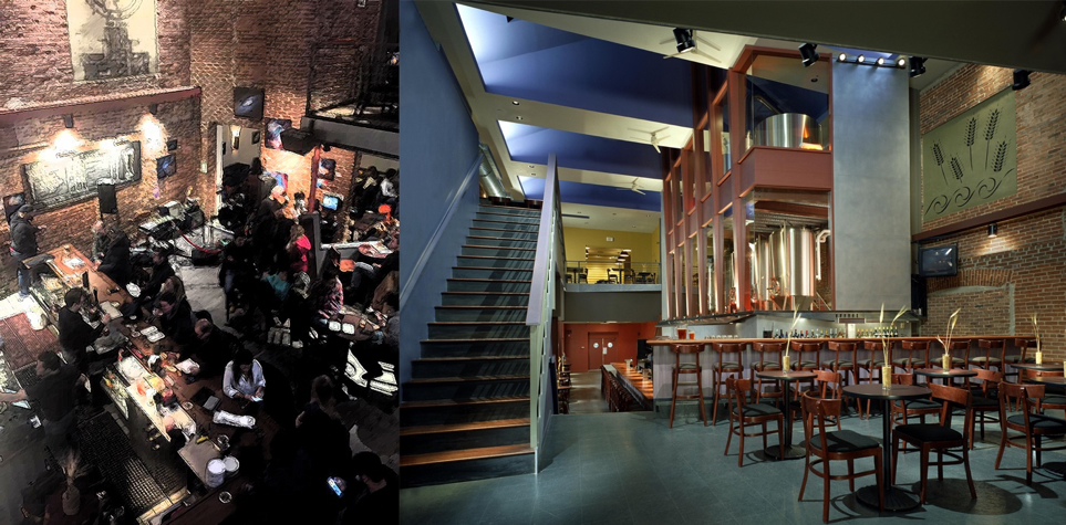 Figure 4 – the right photograph is used with the permission (photograph by Taylor Photography). Left – a view from the second floor to the first floor, Right – another view of the room. The reader can notice the high ceiling and hard surfaces everywhere.