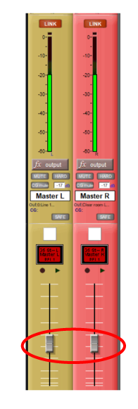 Figure 9 - The master faders of this Digico mixer must be reduced to avoid overdriving the power amps. Note that the output level must be kept below -20 dBFS.