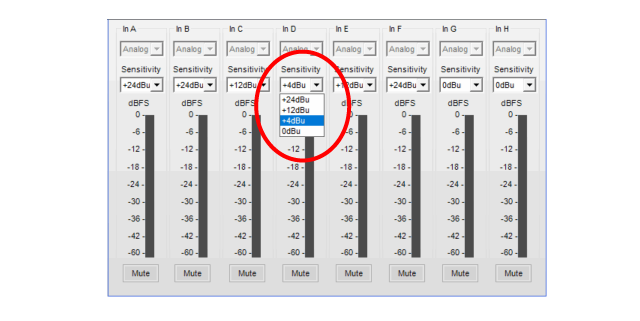 Figure 4 - The control software for the Bose PM Series provides user-selectable input sensitivity.