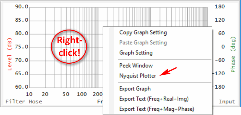Figure 4 - Launching Nyquist Plotter in FH from the TF window