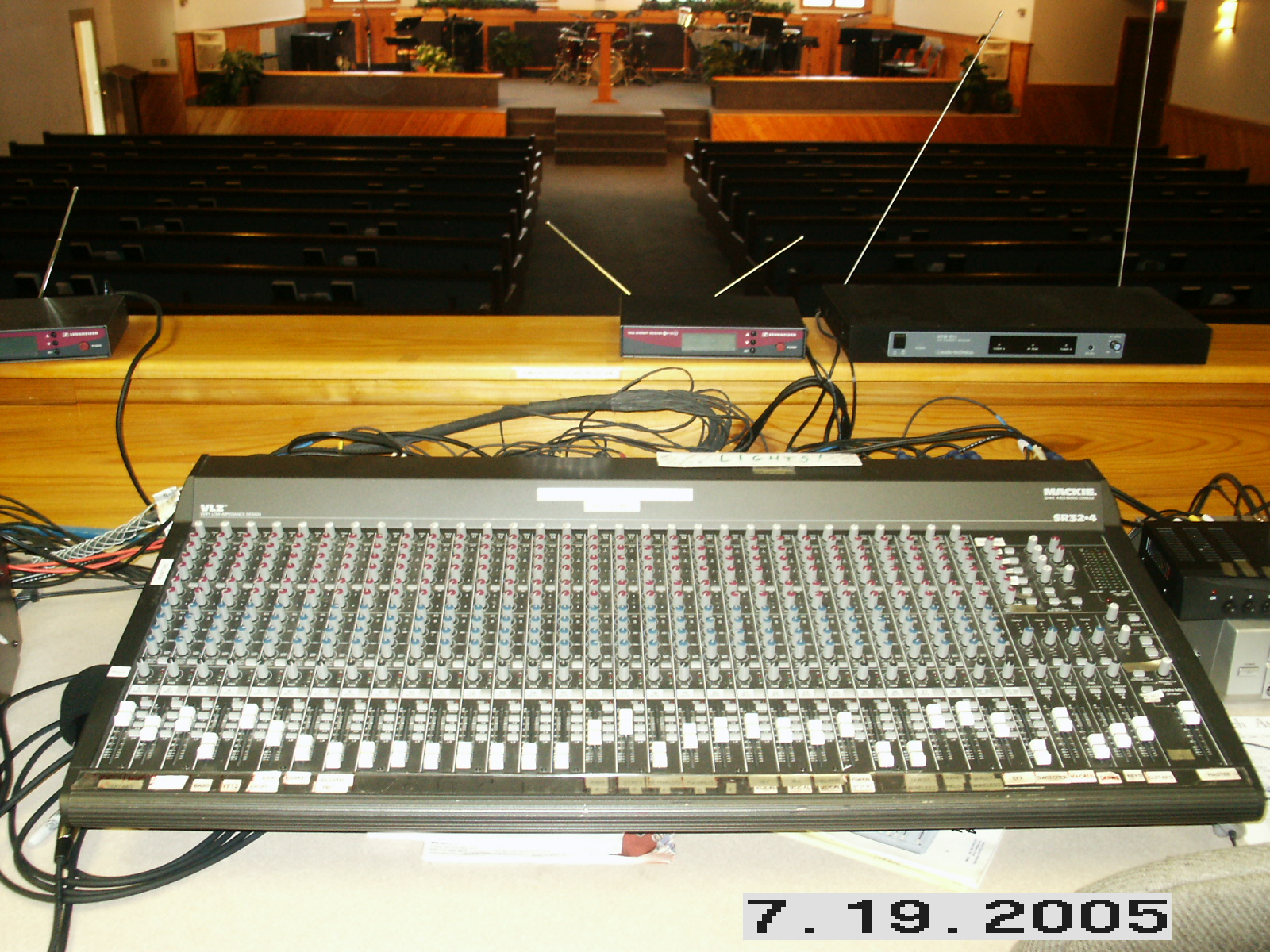Audio/Video Control Desks Figure 1: A simple table-top desk with wireless receivers on a ledge.