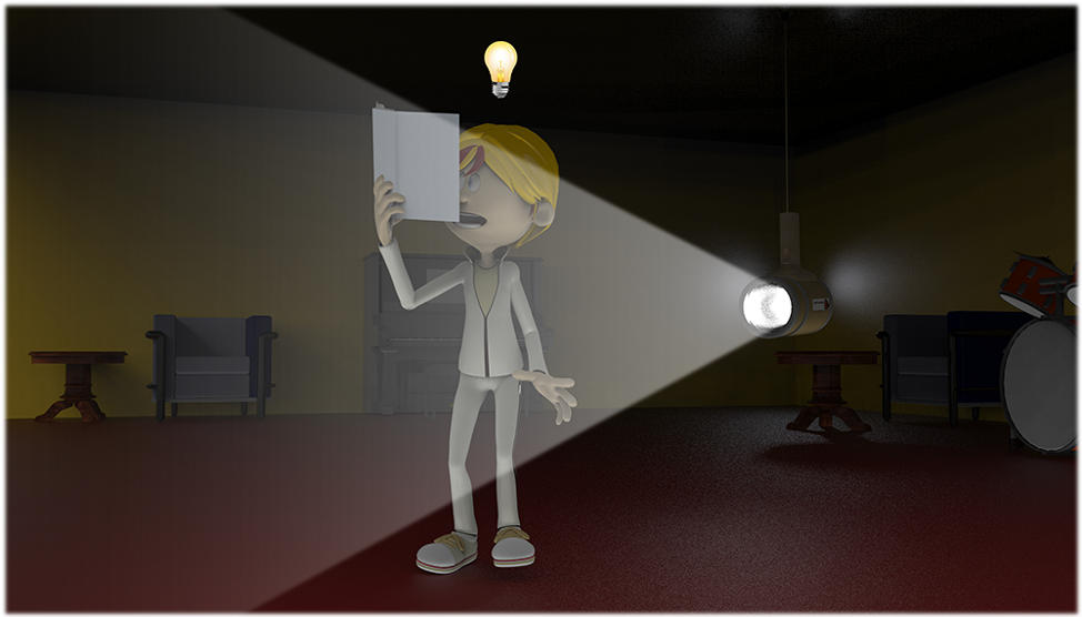 Figure 10 - A spotlight is turned on at some distance away to aid the reading effort.