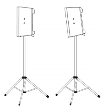 Figure 6 - Pole mounted loudspeaker with and without down-tilt.