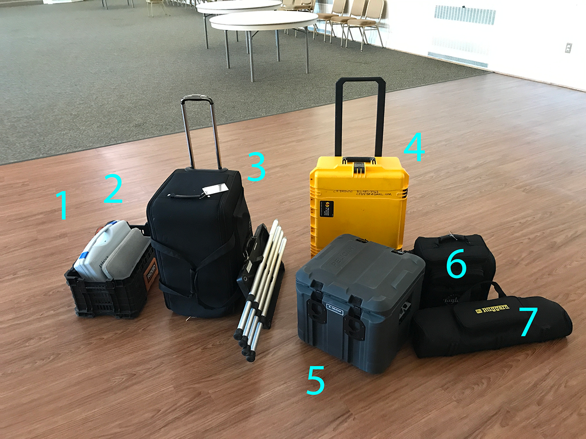 Photo 2 - The room acoustics test kit includes: 1 - Ambisonic microphone / 4-channel recorder 2 - WindowsTM PC 3 - Subwoofer 4 - DSP/Amplifier 5 - Omni Loudspeaker 6 - Gadget Bag (audio meter, laser range finder, gaff tape, balloons, and Sharpies) 7 - Stands